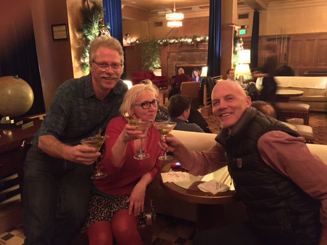 New owners Steve Coulter, Jane Richlovsky, & Greg Smith (not pictured: Ali Ghambari, who was visiting family in Tehran and thus unable to order a martini)